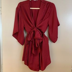 Silky Red Romper by Cotton Candy LA